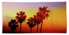 Sunset Palm Trees- Art By Linda Woods Beach Towel