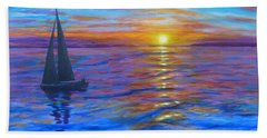 Beach Towel featuring the painting Sunset Sail by Amelie Simmons