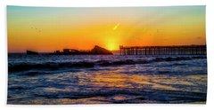Sunset Setting Over Sunken Ship Beach Towel