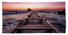 Sunset Shining Over A Wooden Pier In Livorno, Tuscany Beach Towel