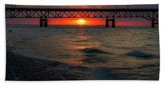Sunset Under Mackinac Bridge Beach Towel