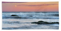 Beach Towel featuring the photograph Super Moon And Sunset At Sozopol Town Beach by Milan Ljubisavljevic