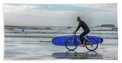 Surfer On Bike Beach Towel