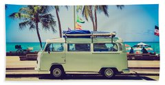 Beach Towel featuring the photograph Surfer Van by Top Wallpapers