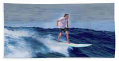 Beach Towel featuring the painting Surfing Andy by Deborah Boyd