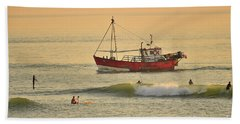 Surfing At Dusk Ij Aberystwyth Beach Towel