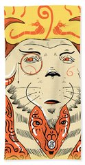 Beach Towel featuring the drawing Surreal Cat by Sotuland Art