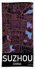 Suzhou City Map Beach Towel