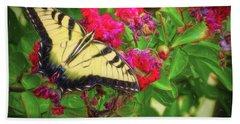 Swallowtail Among Flowers Beach Sheet