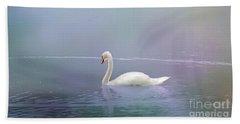 Swan In The Fog Beach Sheet