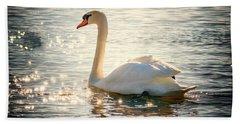 Swan On Golden Waters Beach Towel