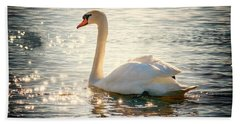 Swan On Golden Waters Beach Sheet