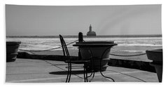 Table For One Bw Beach Towel