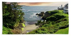 Tall Conifer Above Protected Small Cov Beach Towel