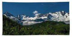 Beach Towel featuring the photograph Tantalus Mountain Range by Jon Burch Photography