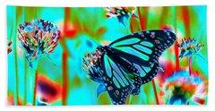 Teal Blue Monarch Butterfly Beach Towel