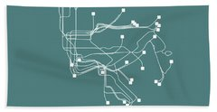 Teal New York Subway Map  Beach Towel