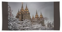 Temple In The Snow Beach Towel