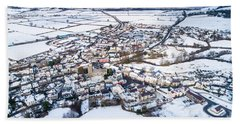 Tregaron In The Snow, From The Air Beach Towel