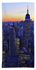 Terminal Tower And Lower Manhattan Nyc At Dusk Beach Towel
