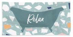 Terrazzo Bath Relax- Art By Linda Woods Beach Towel
