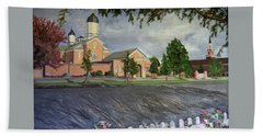 Thank Thee For The Church And The Temple  Vernal Utah Temple Beach Towel