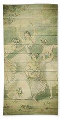 The Ballet Dancers Shabby Chic Vintage Style Portrait Beach Towel