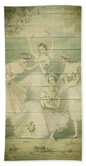 The Ballet Dancers Shabby Chic Vintage Style Portrait Beach Towel