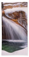 Beach Towel featuring the photograph The Basin, Close Up In A Winter Storm by Jeff Sinon