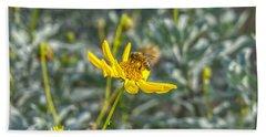 The Bee The Flower Beach Towel
