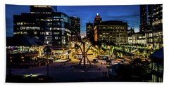 Beach Towel featuring the photograph The Calling At Blue Hour by Randy Scherkenbach