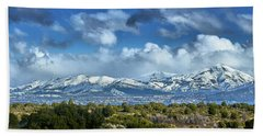 The City Of Bariloche And Landscape Of Snowy Mountains In The Argentine Patagonia Beach Towel