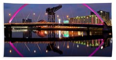 Beach Towel featuring the photograph The Clyde Arc Reflected by Stephen Taylor