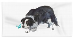 The Collie And Blue Butterfly Beach Towel