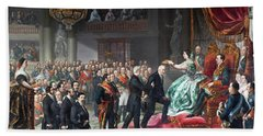 'the Coronation Of The Quintana'. 1859. Oil On Canvas. Isabella II Of Spain. Beach Towel