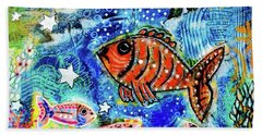 Beach Towel featuring the mixed media The Day The Stars Fell Into The Ocean by Mimulux patricia No