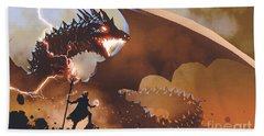 Beach Towel featuring the painting The Dragon Wizard by Tithi Luadthong