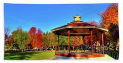 Beach Towel featuring the photograph The Gazebo At Reaney Park by David Patterson