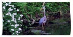 The Great Blue Heron - Impressionism Beach Towel