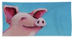 The Happiest Pig Beach Towel