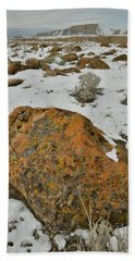 The Lichen Covered Boulders Of The Book Cliffs Beach Towel