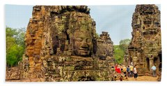 The Many Faces At Bayon Temple, Angkor, Cambodia Beach Towel