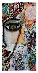 Beach Towel featuring the mixed media The Observer by Mimulux patricia No