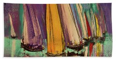 Beach Towel featuring the pastel The Race by David Patterson