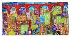 Beach Towel featuring the mixed media The Red Bridge by Mimulux patricia No