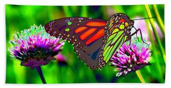 The Red Monarch Butterfly Beach Towel