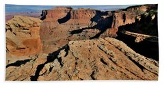 The Rim Of Shafer Canyon In Canyonlands Np Beach Towel