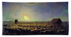 The Sheepfold, Moonlight - Digital Remastered Edition Beach Towel