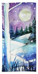 The Story Of The White Tree - Winterscape Watercolor - Mona Edulesco Beach Towel