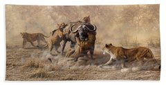 Beach Towel featuring the painting The Take Down - Lions Attacking Cape Buffalo by Alan M Hunt